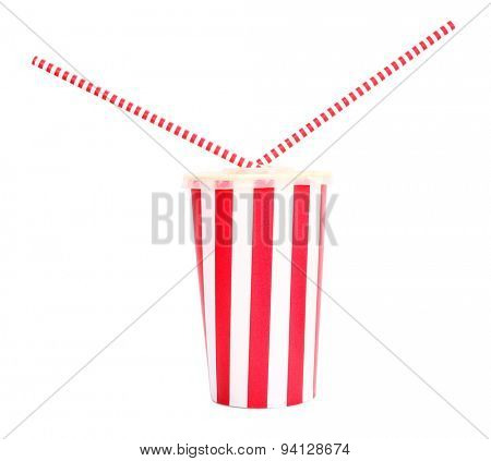 Soft drink with two straws inside