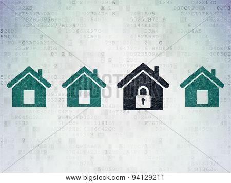 Privacy concept: home icon on Digital Paper background