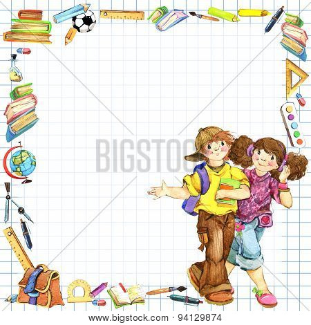 School children and Back to school background for celebration watercolor illustration