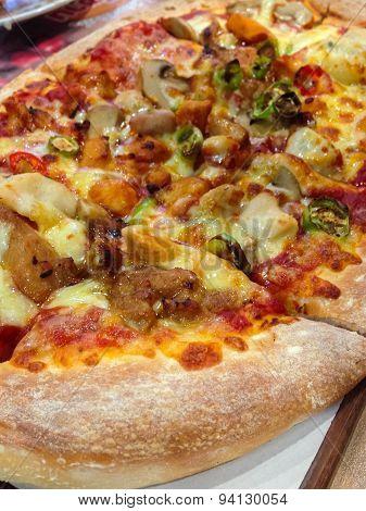 Healthy Vegetables And Mushrooms Vegetarian Pizza.