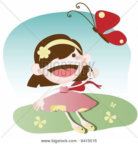 Little Girl Playing With Butterfly