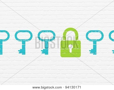 Privacy concept: closed padlock icon on wall background
