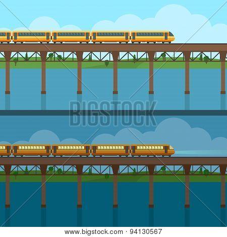Train on railway and bridge.