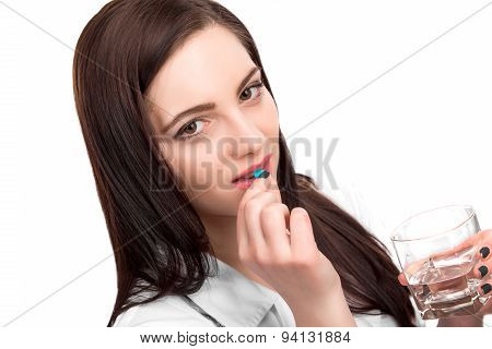 Woman Take Pill