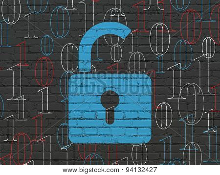 Privacy concept: Opened Padlock on wall background