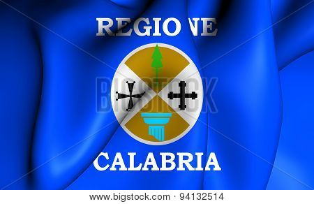 Flag Of The Calabria, Italy.