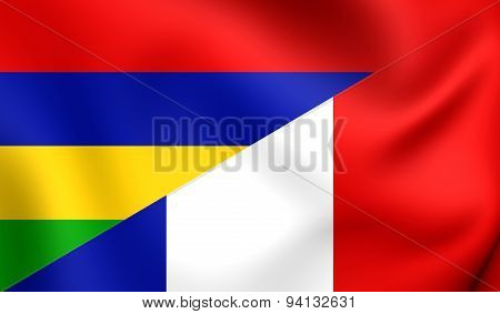 Flag Of The Mauritius And France