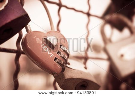 Red Heart-shaped Padlock