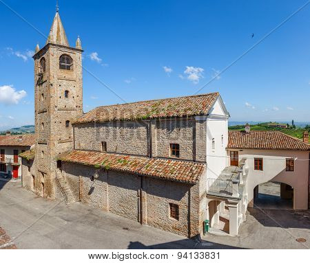 Old abandoned church in small town of Serralunga d'Alba in Piedmont, Northern Italy.