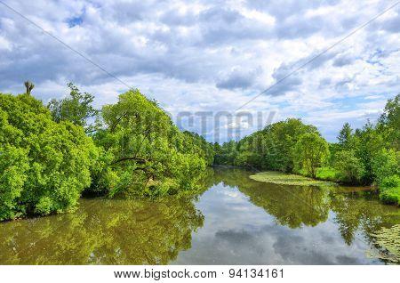 Fulda River In Aueweiher Park  In Fulda, Hessen, Germany