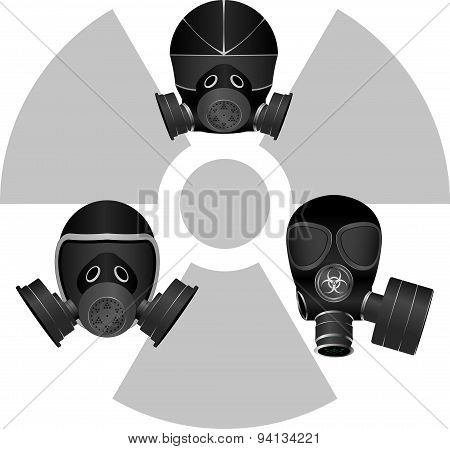 Gas Masks And Radiation Sign