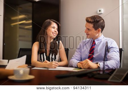 Business People Flirting In The Office