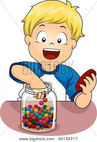 Illustration of a Little Boy Sticking His Hand in a Jar of Candies