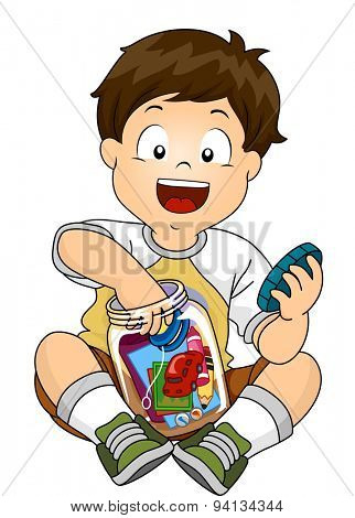 Illustration of a Little Boy Putting His Toys Inside a Jar to Make a Time Capsule