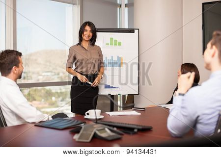 Cute Woman Giving Presentation