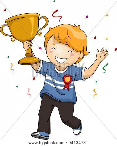 Illustration of an Overjoyed Boy Celebrating His Victory While Waving His Trophy