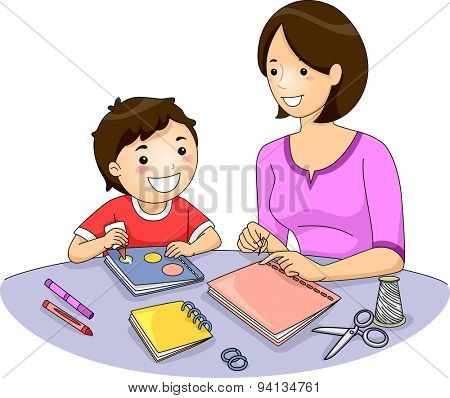 Illustration of a Mother and Her Son Making a Book