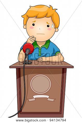 Illustration of a Boy Standing Nervously Behind a Podium