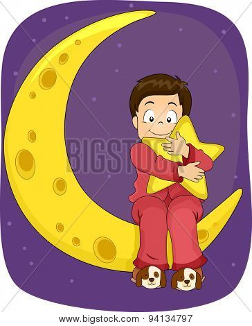 Illustration of a Little Boy in Pajamas Sitting on the Moon