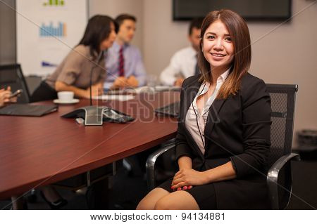 Cute Businesswoman In An Office