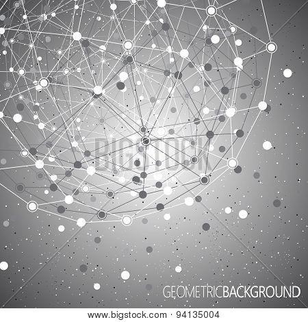 Geometric gray background molecule and communication  for your design. Vector illustration