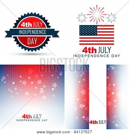 vector simple set of american independence day background illustration with creative pattern