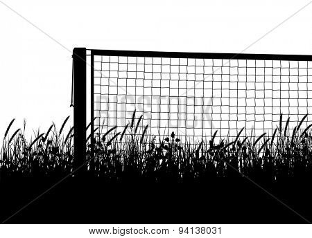 EPS8 editable vector silhouette of a tennis net on a court of overgrown grass