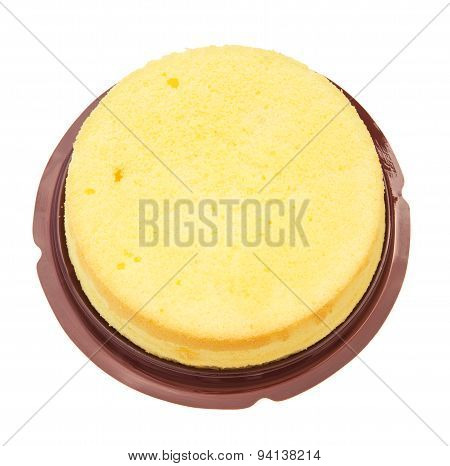 Top View Home Made Round Sponge Cake On White With Clipping Path