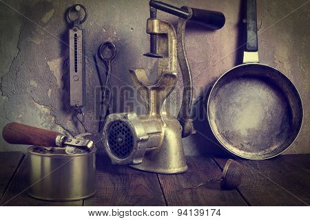 A Collection Of Old Kitchen Utensils. Tinted Photos