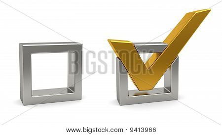 Golden Check Mark And Silver Check Box On White Background