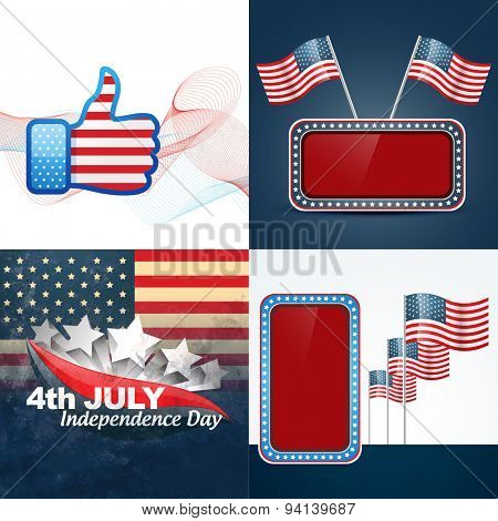 vector set of american independence day flag design illustration and creative object