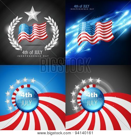 vector set of 4th july american independence day background with flag