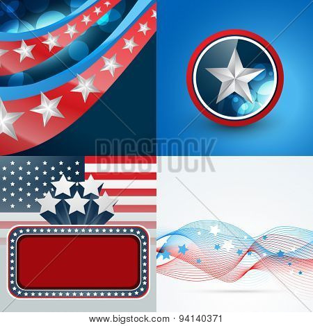vector set of 4th july american independence day background with badge and wave effect