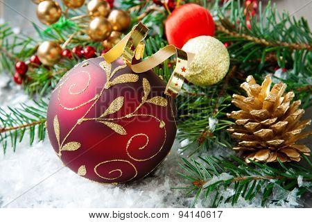Christmas composition with christmas ball