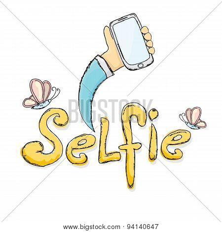 Taking Selfie Photo on Smart Phone concept.