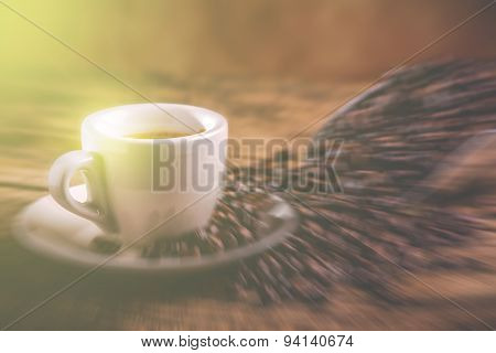 Morning coffee cup - blurred style photo