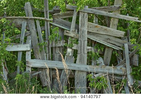 Artistically Renovated Old Wooden Fence.