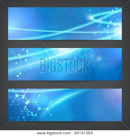 Set Technology Chemistry Banner Background For Web Or Print