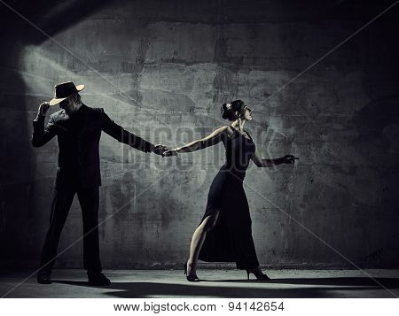 Man And Woman Dancers, Concrete Building Surroundings