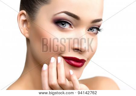 poster of Beautiful model woman in beauty salon makeup Young modern girl in luxurious spa Lady make up Mascara