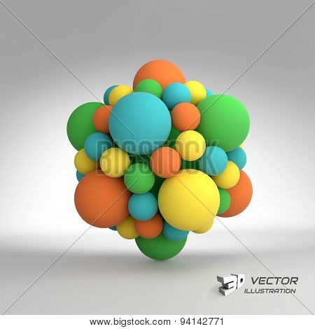 Molecular structure with spheres. 3d vector Illustration. can be used for marketing, website, presentation.