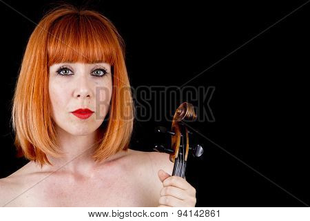 Violin Player Woman With Red Hair Isolated On Black Background