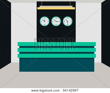 Hotel reception. Interior room with a desk and a clock. Vector illustration