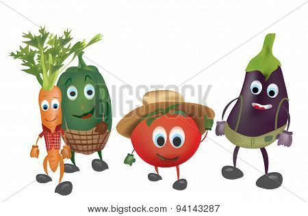 Set of  Cartoon Vegetables with Clothes