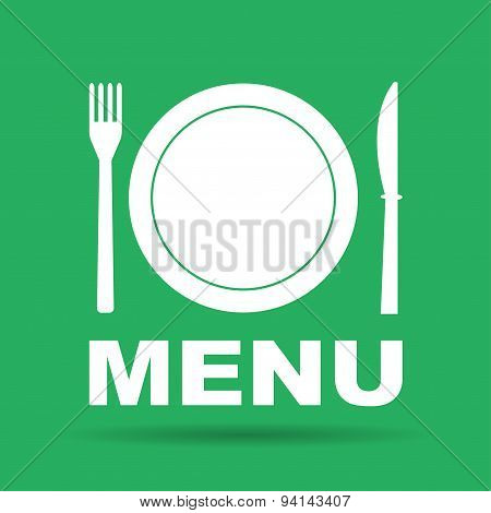 Menu With Cutlery Sign