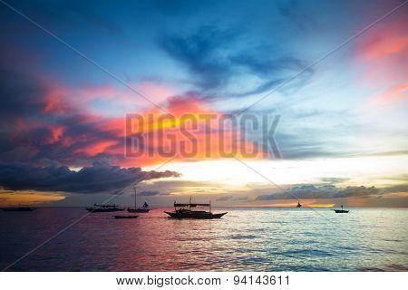 Beautiful colorful sky over ocean