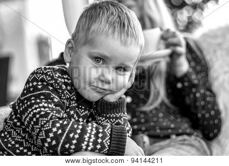 Blond Child looking at camera