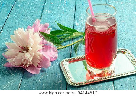 Tonic Drink With Cranberry Juice And Peony