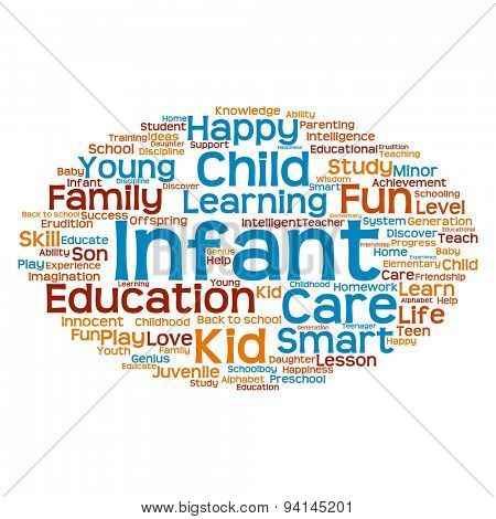 Concept or conceptualblue and orange child education abstract word cloud isolated on white background