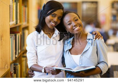 beautiful african college girls in library